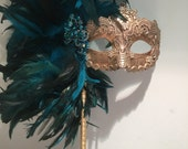 Mask on a Stick-Feather Mask-Mardi Gras Mask-Masquerade -Turquoise Mask-Coque feathers-Venetian mask-Wedding Mask-Mayors Masked Ball