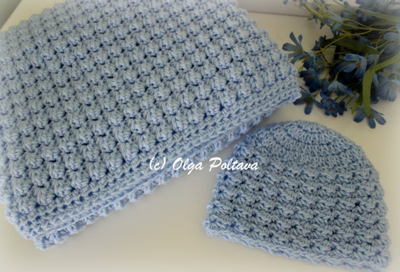 Baby Boy Set Crochet Pattern, Baby Blanket and Hat, Easy Crochet Pattern, Instant PDF Download