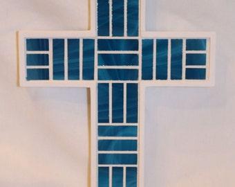 Turquoise Glass Mosaic Cross