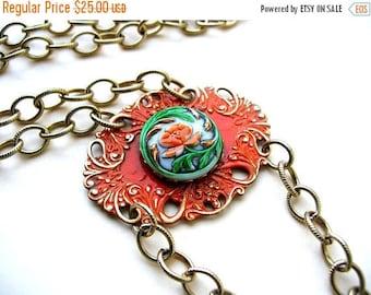 Orange Flower Statement Necklace - Czech Button Jewelry