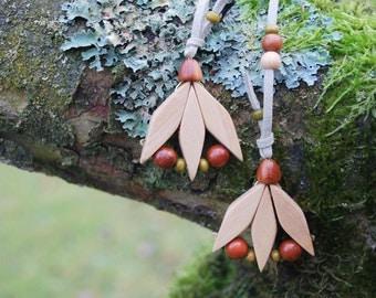 Spring Tulip Juniper Wood Necklace, Nature Eco Friendly Wooden Flower Pendant, Woodland Rustic Necklace, Boho Hippie Flowers Pendant
