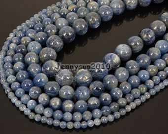 Natural Kyanite Gemstone Round Loose Spacer Beads 15'' 4mm 6mm 8mm 10mm 12mm  Great For Jewelry Design