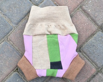 Upcycled cloth diaper cover, wool soaker, shorties - Size Large - Girly patchwork scrappy