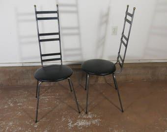 Pair of 1960's Iron Chairs Umanoff Style