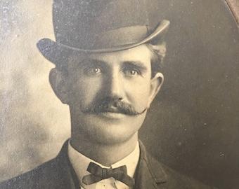 Mustache Bowler Hat Sharp Dressed Man Victorian Hottie Vintage Photo Card Mounted