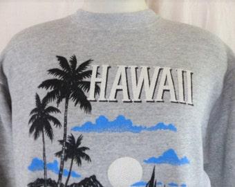 aloha vintage 90' Waikiki Beach Hawaii heather grey fleece graphic sweatshirt puffy print palm tree logo travel souvenir crewneck Large