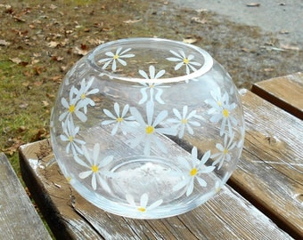 Daisy Vase - Flower Power - 1960's Hand Painted Round Glass