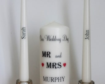 MR and MRS Bride and Groom Personalized Wedding Unity candle set Ceremony candles Wedding gift customized personalised candle set