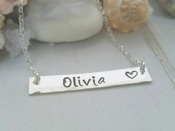 Sterling bar necklace, Sterling silver name bar,  Mothers name necklace, Personalized Mother necklace, Custom name bar, Personalized bar