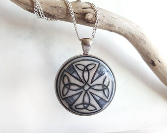 Hand Painted Pendant, Blue Pendant, Celtic Necklace, Bezel Necklace Celtic Design, Small Painting Charm, Unique Jewelry