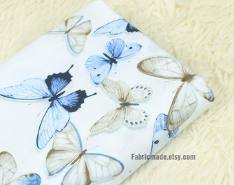 Butterfly Cotton Fabric Cloth - Blue Butterfly On White Cotton - 1/2 yard