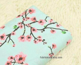 Pink Plum Blossom Flower On Aqua Green Cotton Fabric Quilt Dress Cotton Fabric 1/2 Yard
