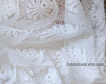 Off White Tulle Embroidered Lace Fabric, Plaid Flower Lace Tulle, Bridal Wedding Lace Fabric, Dress Curtain Fabric- 1/2 yard Lace