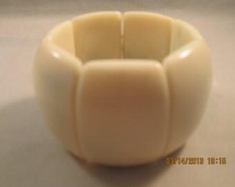 Cream Color Stretch Wide Cuff Bracelet
