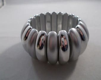 Silver Tone and Light Gray Stretch Cuff Bracelet