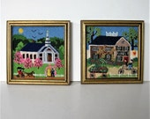 "2 framed vintage needlepoint scenes, 5 3/4"" x 5 3/4"", wedding, Church, hand stitched wall hangings, gold wood, Mid Century Decor, gift idea"