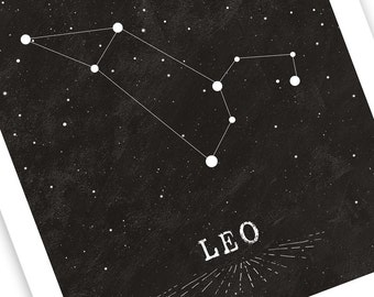 High Contrast Leo Constellation • Astrology Star Map Print • Great Zodiac Birthday Gift in Black and White • Chalkboard Style