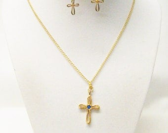 "1"" Gold Plated Cross with Blue Crystal Pendant Necklace & Earrings Set"