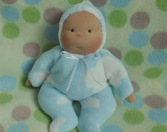 "Fretta's Waldorf style floppy Baby, 11"" / 28 cm tall. Soft child friendly baby doll."