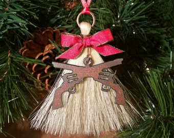 Rustic Primitive Rusty Metal Cutout Two Crossed Pistols Revolvers on Horsehair Tassel Christmas Holiday Ornament