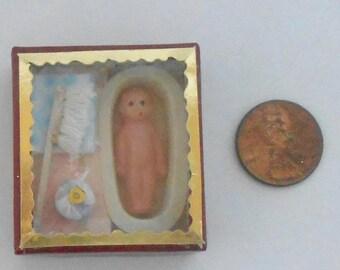 "Antique doll in a Bathtub Doll House Miniature Scene. 1"" Doll"