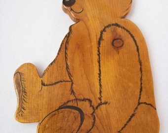 Vintage Wood Bear Cut Out, 1980's, Nursery, Cottage Chic, Child's Room, rosesandbutterflies, traditional, teddy bear theme, country decor