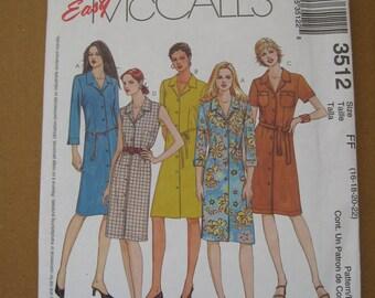 Easy McCall's Fashion Basics Pattern #3512, Size 16-18-20-22, UnCut, 2002, rosesandbutterflies, womens sewing clothing pattern, McCalls