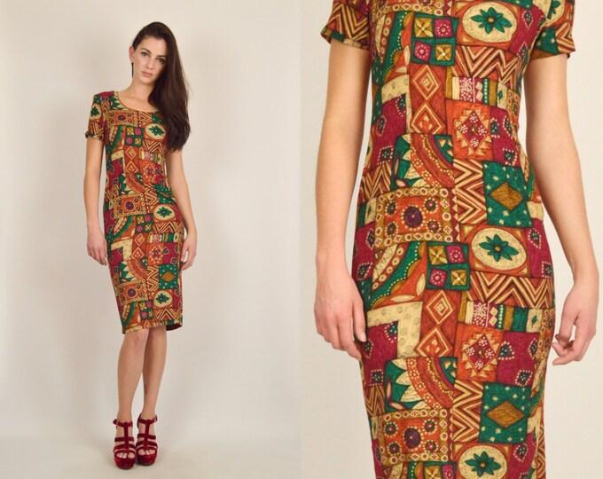 Boho Floral Midi Dress Bodycon