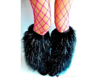 Black fluffies - MADE TO ORDER // black glitter fluffies // glitter leggings // black leggings // faux fur // furry boots // faux fur boots