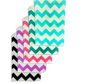50 Mini multi color Chevron 3x5 inch Flat Paper Bags Pink|Teal|Blue|Black|Purple Cute 3.25x5.25 Kraft Goodie Favor Bags, Itty Bitty Bag