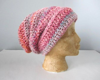 Crochet Pink, Fuschia, Hot Pink, Purple, Blue, Teal, Turquoise, Lavender, Gold, Salmon Slouchy Hat, Beanie Hat