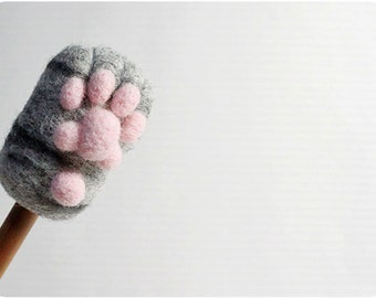 Cat Paw - grey tabby, needle felted wool Pencil Cap