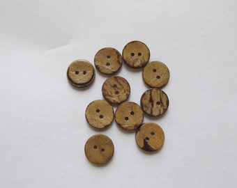 Coconut shell button 15mm set of 10