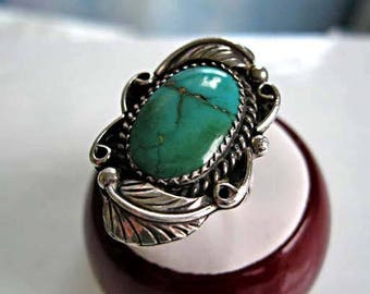 Navajo Turquoise Sterling Ring, Double Curved Feather Design, Southwestern Native Art, Arrow Tips Hallmark Double LL, 8 grams, Size 7