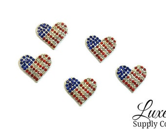 Patriotic Heart Rhinestone 24mm Embellishments - 4th of July DIY Crafts - America - USA - Wholesale Prices - BULK Crafting Supplies