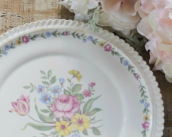 Harker Royal Gadroon Bouquet Dinner Plate Vintage Wedding Cake Plate Ca. 1960s