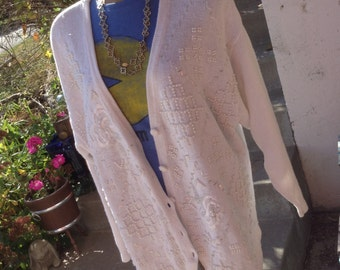Vintage hipster Kitsch 80s Victoria Jones ladies white beaded and pearl cardigan size 2x free domestic shipping