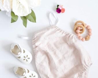 linen baby romper, pink romper, little girls clothing, linen clothing