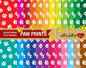 PAW Digital Paper Dog Paw Patterns Pet Paw Print Scrapbook Background Rainbow Graphics Animal Digital Paper Bunny Paw Patterns collage sheet
