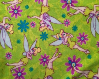 "Tinkerbell fleece fabric 1.5 yard x 59"" wide polyester new green"