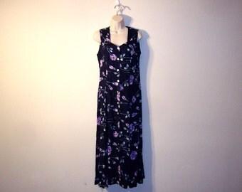 Vintage 1990s Navy Blue Floral Dress, Size Medium