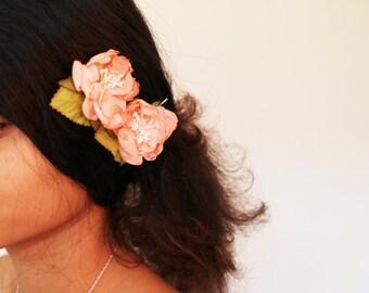 Orange rose hair clips bobby pins hair accessory floral flower hair pins bridal wedding