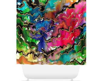 RAINBOW BREWING Colorful Fine Art Painting Shower Curtain Washable Floral Home Decor Multicolored Cheerful Ocean Waves Modern Style Bathroom