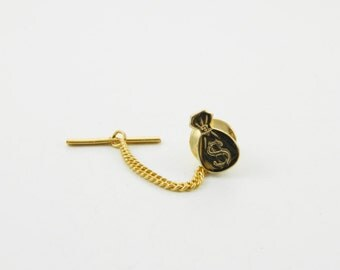 Vintage Money Bag Lapel Pin with Chain - 005 - Vintage Tie Tack