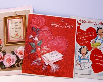 Three Vintage 1950's USED Valentine and Mother's Day Cards - From Daughter, For Mom and Dad, A Valentine for Mother All Signed Nancy