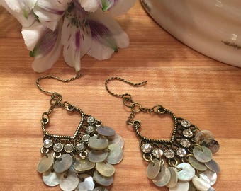 Seashell Earrings, Rhinestone Crystals, Brushed Brass Tone, Twisted Heart, Twisted Ear Wire, Made in the USA, Free Shipping, # 112