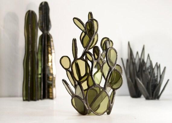 Vitrail cactus Sculptures / / teinté verre Prickly Pear Cactus