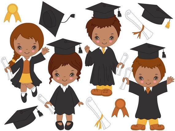 Graduación Americano Africano Niños Clipart Vector Digital