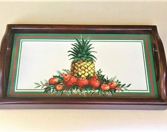 Vintage Wood Tray Tile Inset, decorative fruit tile tray, coffee table centerpiece, small serving tray