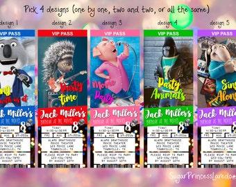 SING Movie Ticket Style Invitation - Printable Digital File